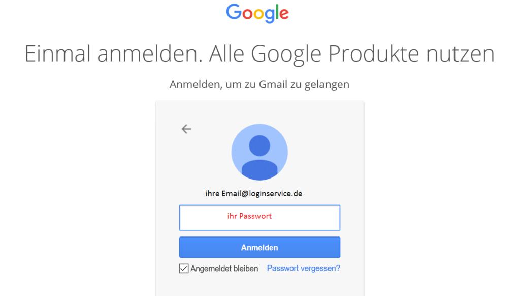 Gmail Login Seite Passwort eingeben
