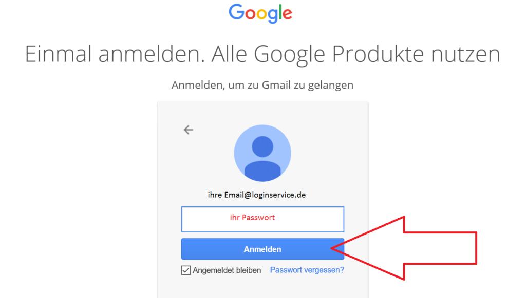Gmail Login Seite Passwort eingeben weiter