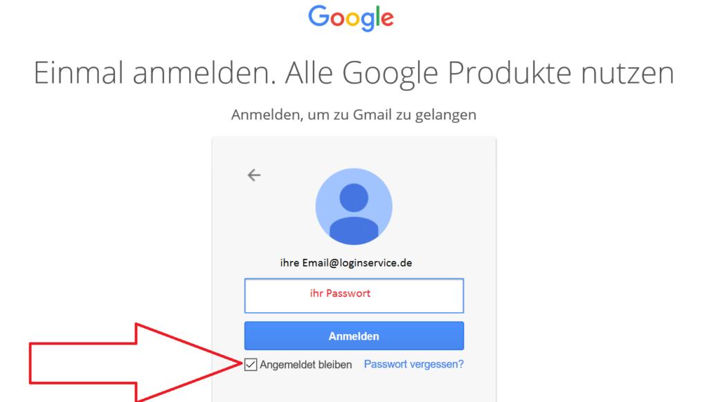Gmail Login Seite angemeldet bleiben