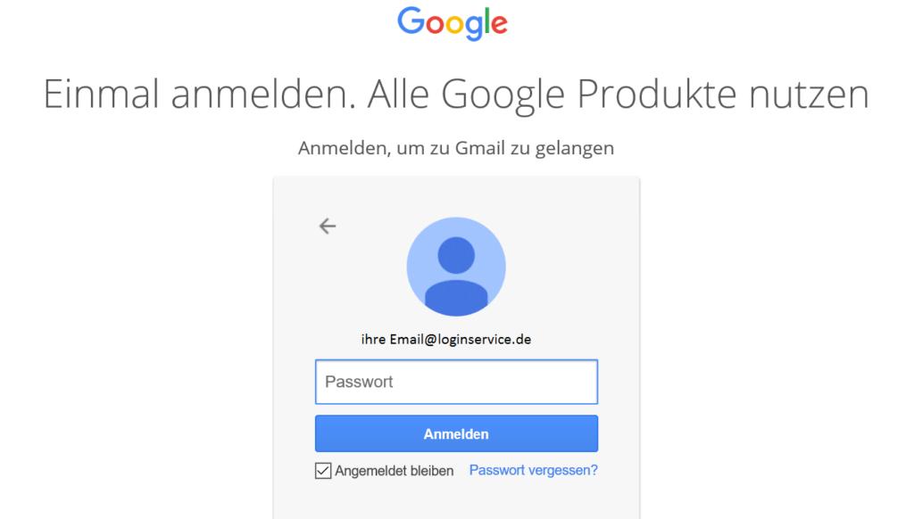 Gmail Login Seite weiterleitung passwort