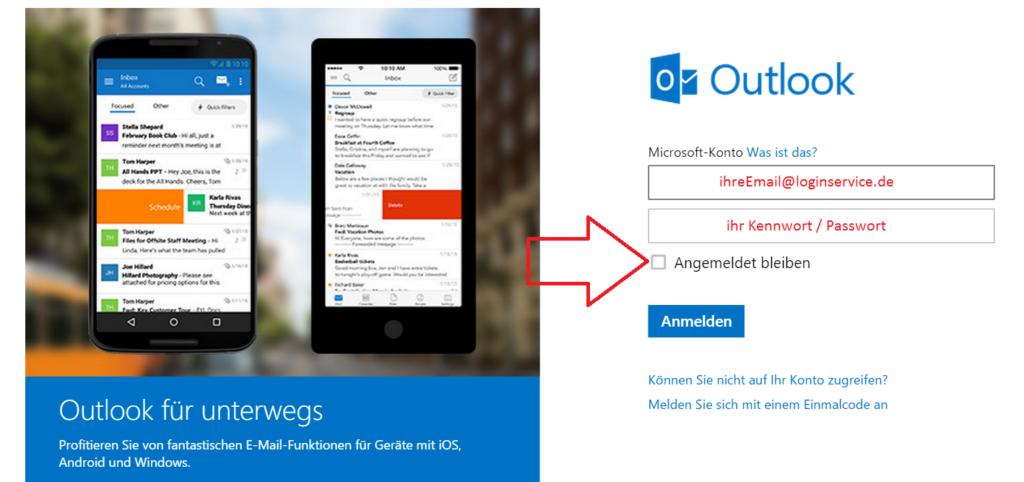 Outlook Login Seite Angemeldet bleiben