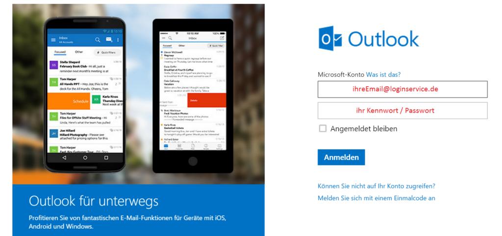 Outlook Login Seite Passwort