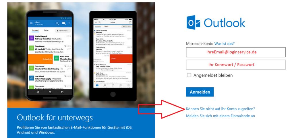 Outlook Login Seite Passwort vergessen