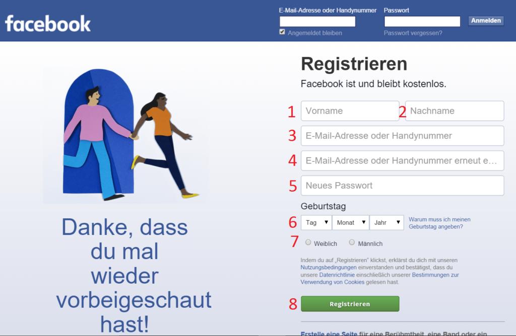 Facebook Anmelden Registrieren Anleitung