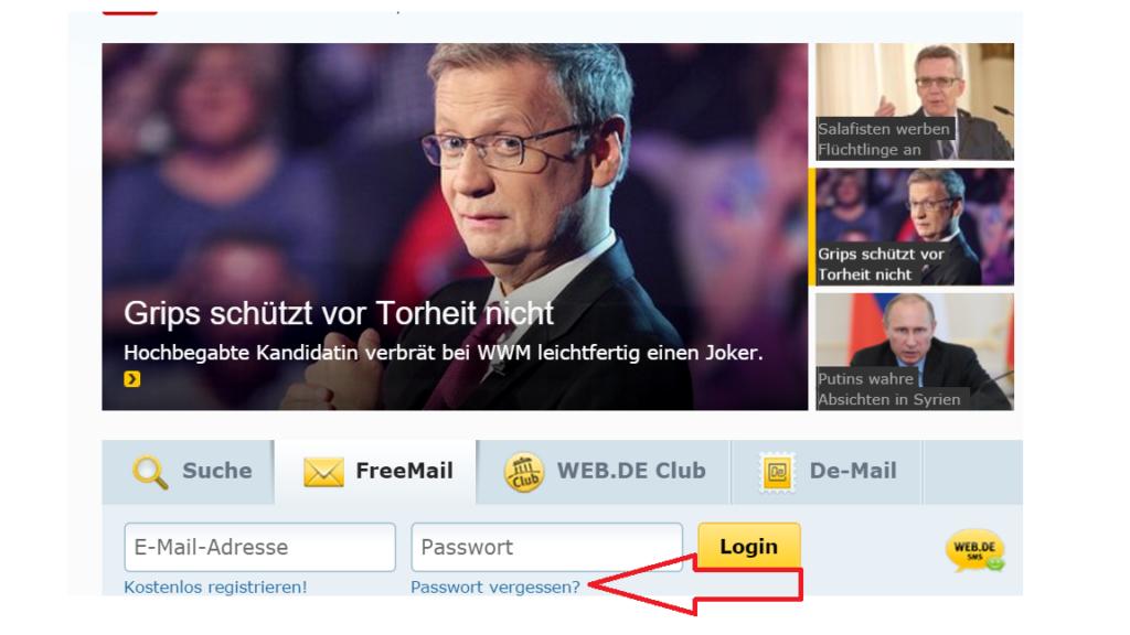 Web.de Freemail Passwort vergessen