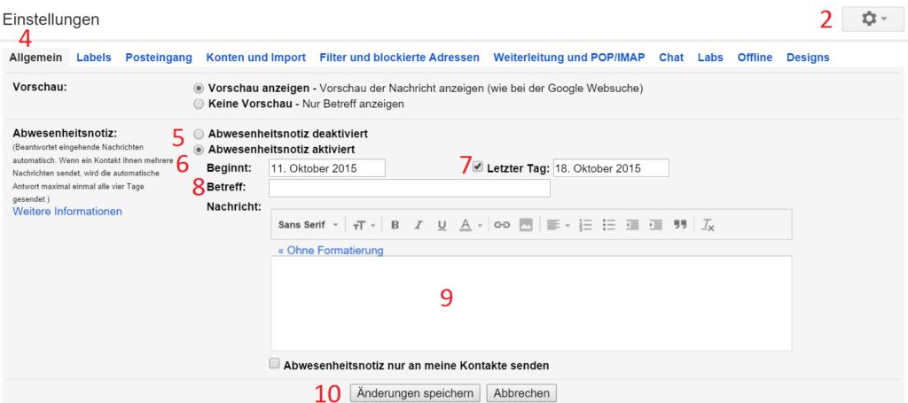 gmail abwesenheitsnotiz einrichten