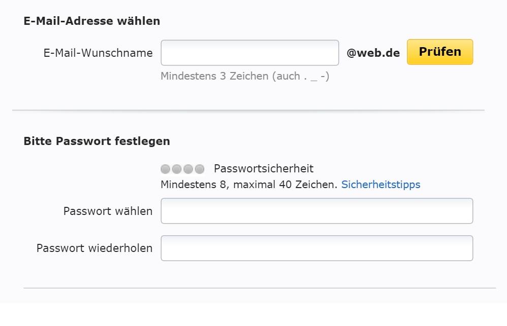 Web.de E-Mail Konto kostenlos erstellen