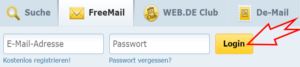 Web.de Freemail Login Button