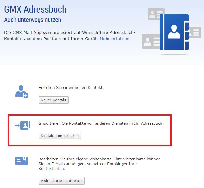 GMX Kontakte importieren